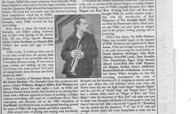 Willie Waldman to Play Two Stick Nov 9th (Local Voice Oxford, MS Nov 1, 07)