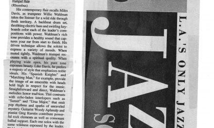 Willie Waldman Trumpet Ride (Rhombus) L.A. Jazz Scene January 2002 Issue No. 173