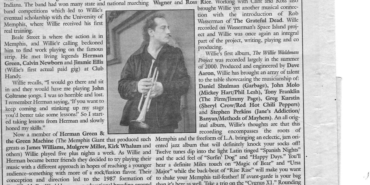 Willie Waldman to Play Two Stick Nov 9th (Local Voice Oxford, MS Nov 1, 07)